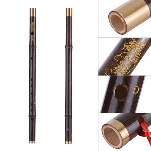 Профессиональный черный бамбук Dizi Flute Традиционный ручной китайский китайский музыкальный инструмент для духового инструмента Ключ C Study Level фото