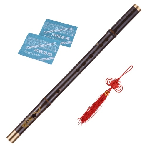 Professional Black Bamboo Dizi Flute Traditional Handmade Chinese Musical Woodwind Instrument Key of C Study Level