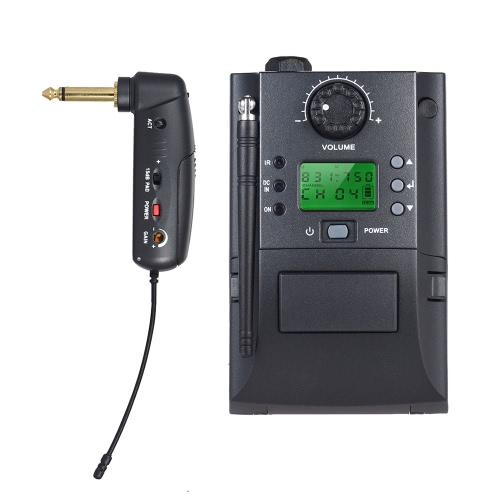 ポータブルUHF楽器ワイヤレスマイクシステム(レシーバー&トランスミッター付)32チャンネル(エレクトリックギター用)