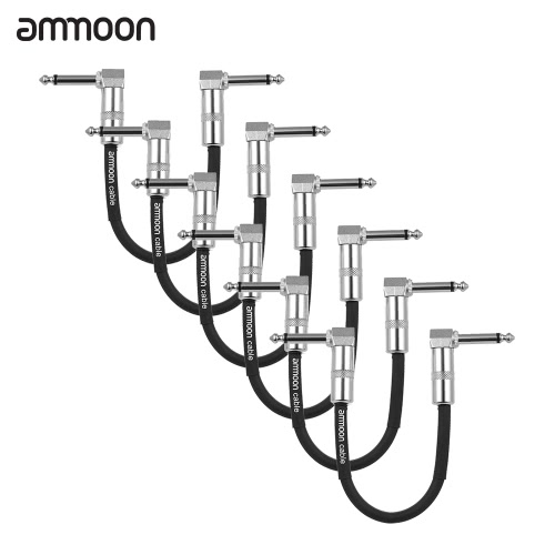ammoon 3-Pack Guitar Effect Pedal Instrument Patch Cable 15cm/ 0.5ft Long with 1/4 Inch 6.35mm Silver Right Angle Plug Black PVC Jacket