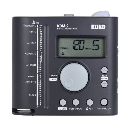 KORG KDM-2 Universal Digital Metronome LCD Display 30-252 Tempo Range 19 Beat Patterns mit 3,5 mm Kopfhörerausgang