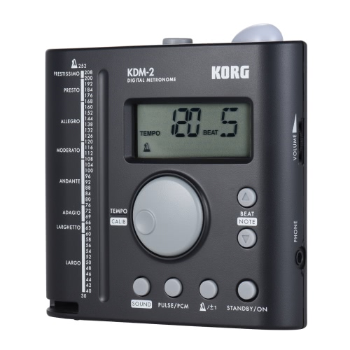 KORG KDM-2 Universal Digital Metronome LCD Display 30-252 Tempo Range 19 Beat Patterns with 3.5mm Earphone Output