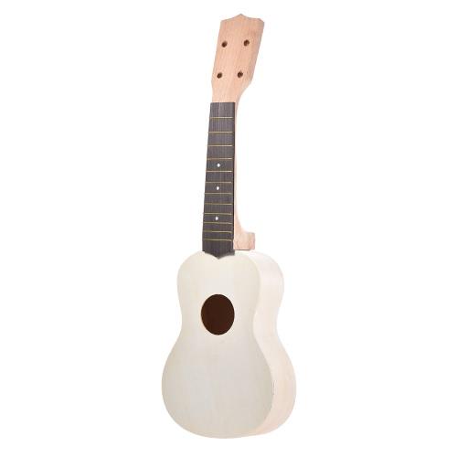 21in Soprano Ukelele Ukulele Hawaii Guitar DIY Kit Maple Wood Body & Neck Rosewood Fingerboard with Pegs String Bridge Nut