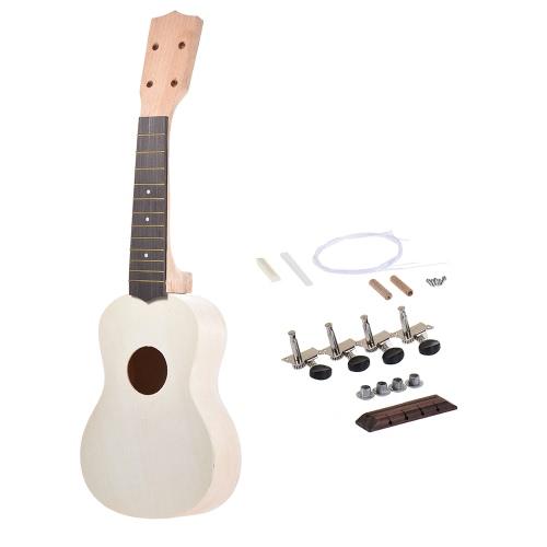 21 in Sopran Ukulele Ukulele Hawaii Gitarre DIY Kit Ahornholz Körper & Hals Palisander Griffbrett mit Pegs String Bridge Nuss