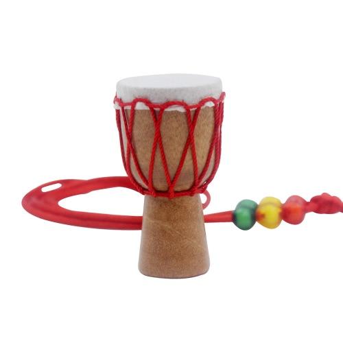 手作りDejembeアフリカンドラムネックレスパーカッション楽器アクセサリーウッドカラーブラックワイヤー