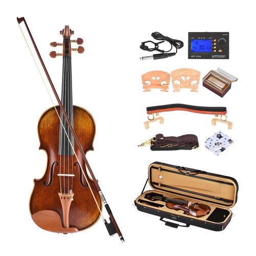 ammoon Pro Master Maestro Antonio Stradivari 1716 Style Handmade Antique 4/4 Full Size Violin Fiddle Kit