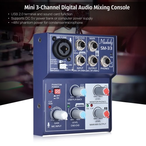 TOMTOP / Muslady SM-33 Mini 3-Channel Sound Card Mixing Console Digital Audio Mixer