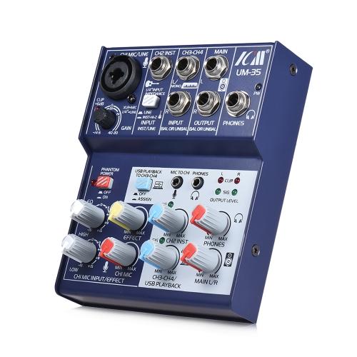 ICM UM-35 Misura compatta da 4 canali Mixer Console Mixer audio digitale Supporta alimentatore USB da 5 Volt Alimentazione USB EQ a 2 bande Built-in 48V Phantom Power per la registrazione della rete DJ Live Broadcast Karaoke