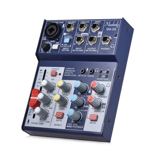 Muslady SM-36 Compact Size 4-Channel Sound Card Mixing Console Digital Audio Mixer Supports 5V Power Bank USB Power Supply Built-in 48V Phantom Power 3-band EQ with Volume Fader for Recording DJ Network Live Broadcast Karaoke