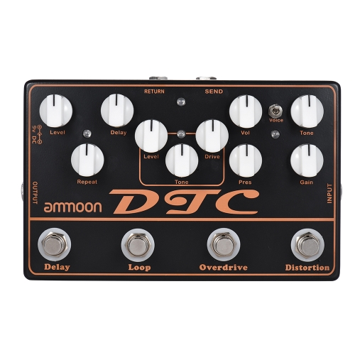 ammoon DTC 4-in-1 Electric Guitar Effects Pedal