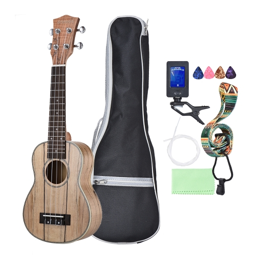 ammoon Soprano Ukelele 21 pollici Spalted Maple Body Tastiera in palissandro Hawaiian Guitar Ukulele Set