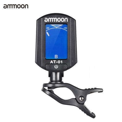 ammoon AT-01 tragbare Mini Clip-on Digital Tuner klappbar & 360 Grad rotierende für Stimmer Gitarre Bass Violine Ukulele