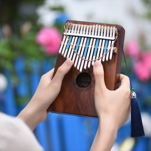 17-Key Thumb Piano Kalimba Mbira Sanza Hawaiian Koa Solid Wood with Carry Bag Music Book Musical Scale Stickers Tuning Hammer Musical Gift AKP-17K