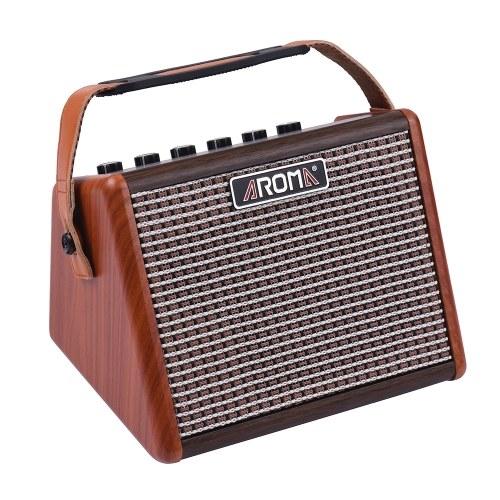 AROMA AG-15A 15W Портативный акустический гитарный усилитель Amp BT Speaker Встроенная перезаряжаемая батарея с микрофонным интерфейсом