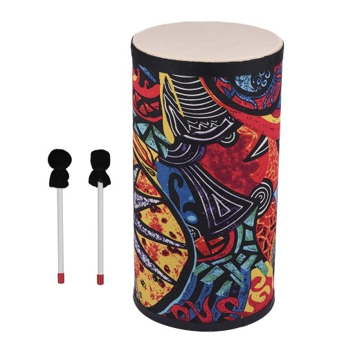10 Inch Conga Konga Drum Hand Drum Floor Drum Attractive Fabric Art Surface with Shoulder Strap Percussion Instrument for Gathering Street Performance Rhythm Practice