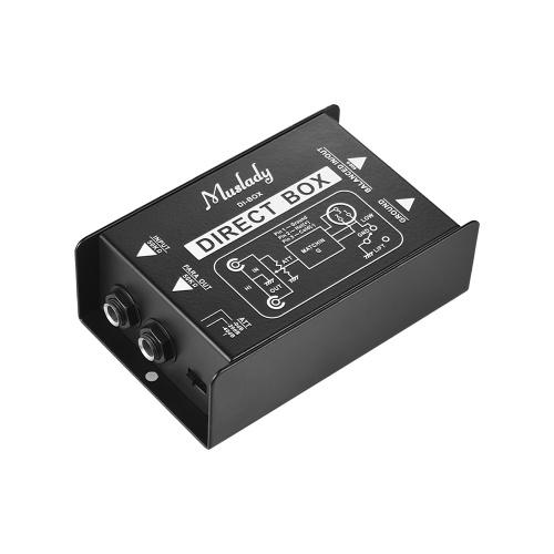 Muslady Professional Single Channel Passive DI-Box Iniezione diretta Audio Box Convertitore di segnale bilanciato e sbilanciato con XLR TRS Interfacce per basso elettrico per chitarra Live Performance