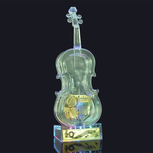 Image of Mechanical Wind-up Violin Shape Transparent Music Box with light