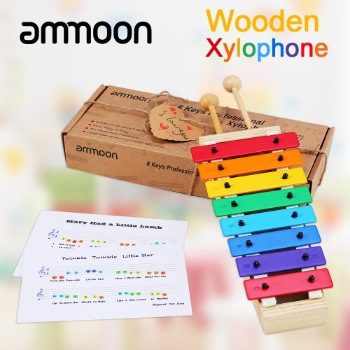 ammoon 8 Keys Compact Size Xylophone Glockenspiel with Wooden Mallets Percussion Musical Instrument Toy Gift for Kids Children