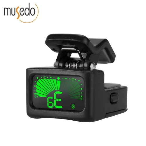 Musedo T-11 Chromatic Guitar Clip-on Turner Portable Guitar Bass Tuner with LCD Screen