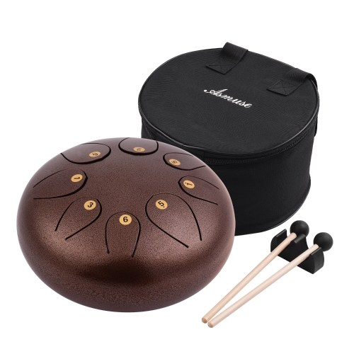 10 Inch Steel Tongue Drum Pan Drum Percussion Steel Drum Instrument 8 Notes