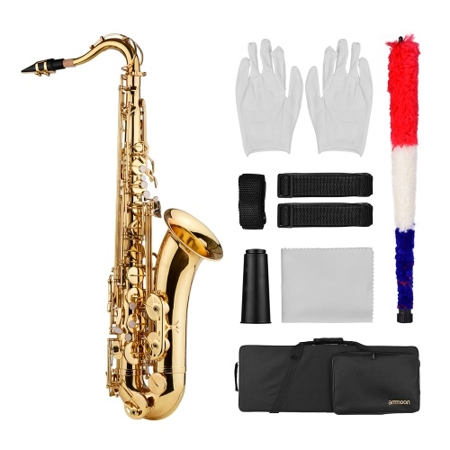 ammoon Bb Tenor Saxophone Sax Brass Body Gold Lacquered Surface Woodwind Instrument with Carry Case Gloves Cleaning Cloth Brush Sax Neck Straps