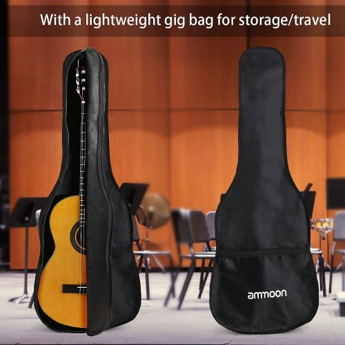 ammoon CG-12 39 Inch Acoustic Classical Guitar 6-String Merbau Topboard Backboard Sideboard with Gig Bag Strings