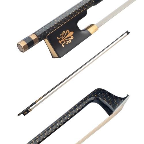 Хорошо сбалансированный 4/4 скрипка смычка золотой плетеный углеродного волокна круглая палка черное дерево лягушка скрипка запчасти аксессуары