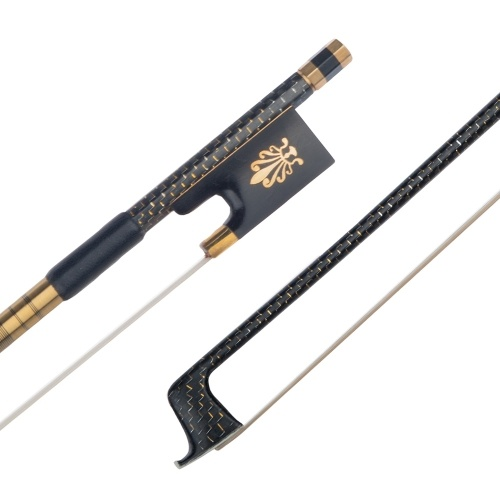 Well Balanced  4/4 Violin Fiddle Bow Golden Braided Carbon Fiber Round Stick Ebony Frog Violin Parts Accessories