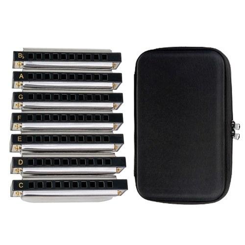 NAOMI Новый Запечатанный Гармонический Набор Гармоника Бисер 7шт (Ключи C, D, E, F, G, A, Bb) 10 отверстий с мягкой сумкой для переноски