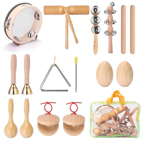 13 Stück Kinder Hand Percussion Instruments Kit Tragbare Kinder Musikaufklärung Musikinstrumenten Set