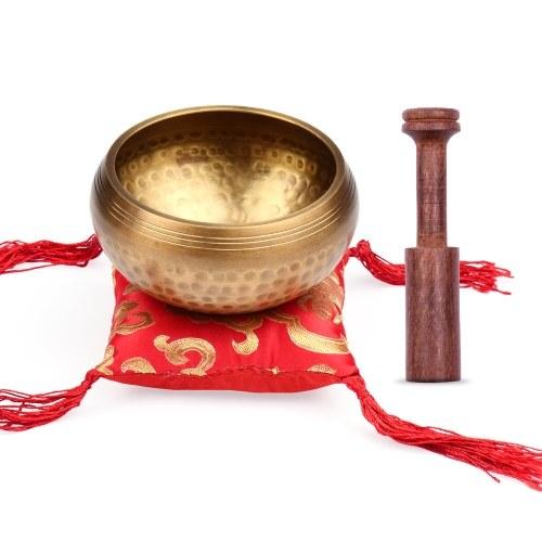 ammoon Tibetan Singing Bowl Set 9.5cm caliber scale pattern bowl + 12.5*2.5cm black wooden stick + 10cm red square cushion