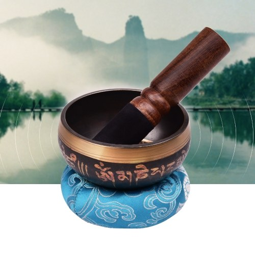 ammoon Tibetan Singing Bowl Set with 10.5cm/4inch Handmade Metal Sound Bowl & Soft Cushion(Random Color Delivery) & Wooden Striker for Meditation Soun