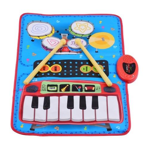 ammoon 70 * 45cm Elektronische Musikmatte Klavier- und Schlagzeug-Kit 2-in-1-Musikspielmatte Musikalisches Lernspielzeug für Kinder Kinder