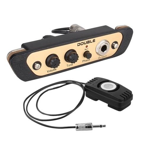 DOUBLE CJ01L Cajon Box Drum Preamp Pickup Звукосниматель для музыкальных инструментов с микрофоном 1/4 дюйма