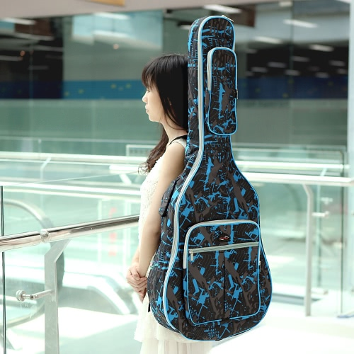 600D Water-resistant Oxford Cloth Camouflage Blue Double Stitched Padded Straps Gig Bag Guitar Carrying Case for 40Inchs Acoustic Classic Folk Guitar