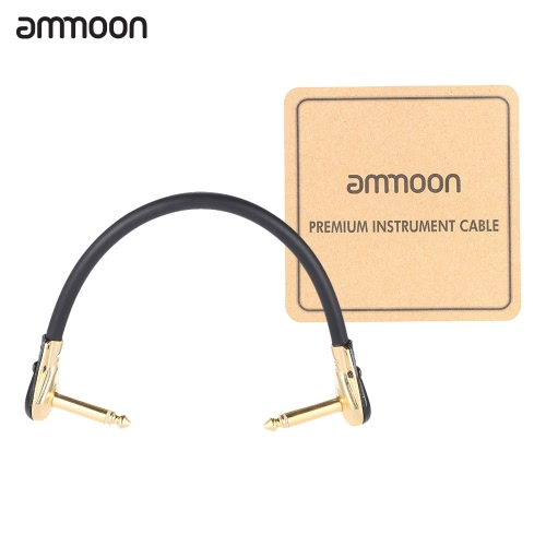Ammoon AC-10 15 cm / 0,5 Wysokość kabla do mocowania gitarowego kabla z 1/4 cala 6.35mm Złotego prawego kąta wtyku PVC do instrumentu Pedal Effect