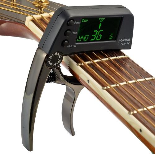 TCapo20 多機能アルミ合金 2 の 1 ギター ・ カーポ通常の民俗エレク トリック ギター アコースティック色ベースの液晶画面とチューナー