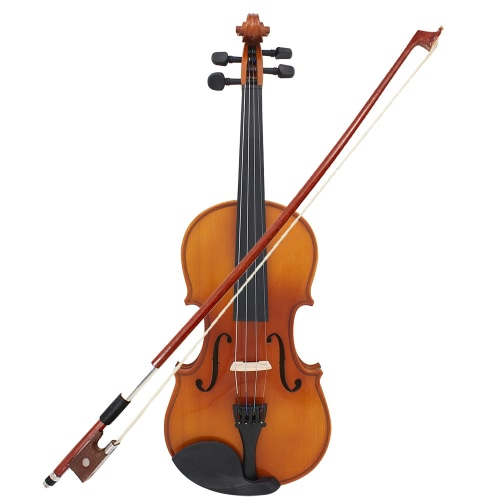 ammoon Full Size 1/2 Violin Fiddle Natural Acoustic Solid Wood Spruce Front Board Flame Maple Veneer for Beginner Student Performer with Case Rosin Cleaning Cloth