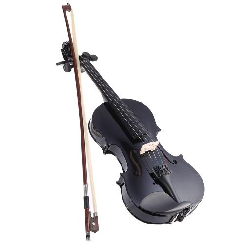 Ammooon 3/4 Schüler Violine Metallic Schwarz mit Stahl String w / Arbor Bug + Case für Anfänger Musikliebhaber ausgestattet