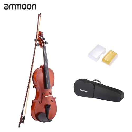 ammoon 3/4 自然アコースティック バイオリン バイオリン スプルース鋼文字列とケース アーバー弓弦楽器音楽愛好家初心者のため