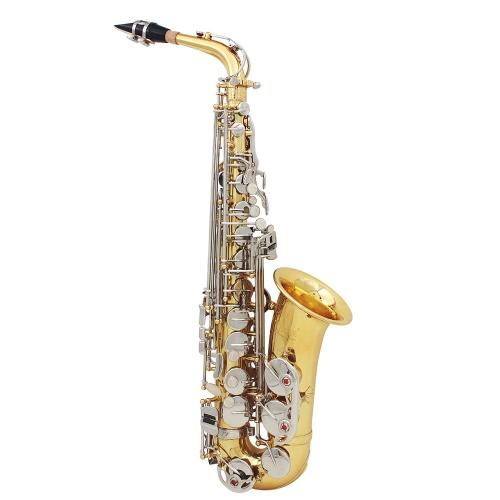 LADE Alto Saxophone Sax Brillante Latón Grabado Eb E-Flat Natural Blanco Shell Botón Instrumento de viento