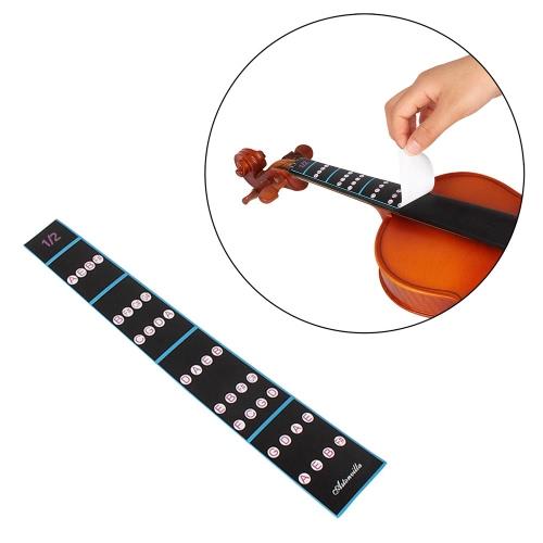 1/2バイオリンフィドル指ガイド指板ステッカーラベルイントネーションチャート初心者のためのフレットボードマーカー