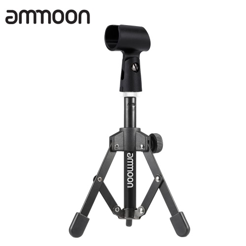 ammoon MS-12 Mini Foldable Adjustable Desktop Microphone Stand Tripod with MC5 Mic Clip Holder Bracket for Meeting Lectures Podcasts