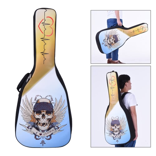 41&42インチのアコースティックフォーククラシックギターギグバッグケースバックパックPU表面防水厚みのパッド入り調整可能なデュアル・ショルダーストラップLuck13パターン