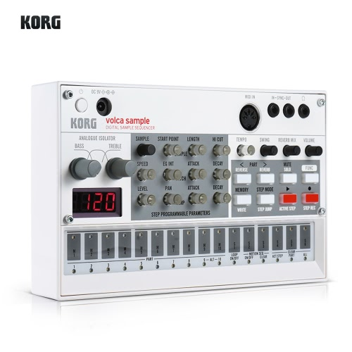 KORG VOLCA SAMPLE Portable Digital Sample Sequencer Synthesizer Playback Rhythm Machine with MIDI In 3.5mm Sync In/ Out Headphone Jacks