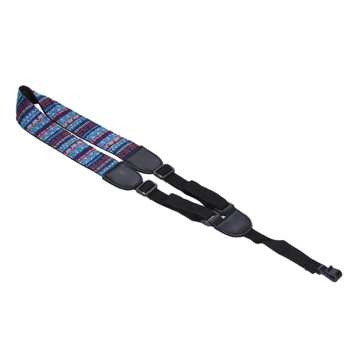 Clip On Adjustable Ukelele Strap Neck Sling Soft Cotton with Sound Hole Hook Geometric Pattern