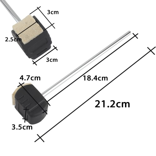 Bass Drum Pedal Beater Wool Felt Stainless Steel Handle Percussion Instrument Accessories Parts, TOMTOP  - buy with discount