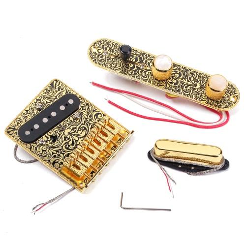 高品質エレキギター6サドルストリングブリッジピックアップセット3ウェイスイッチコントロールプレート美しい装飾パターン