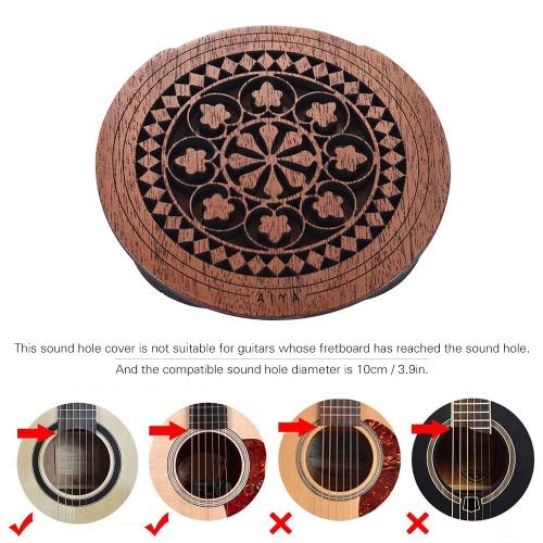Guitar Wooden Soundhole Sound Hole Cover Block Feedback Buffer Mahogany Wood for EQ Acoustic Folk Guitars
