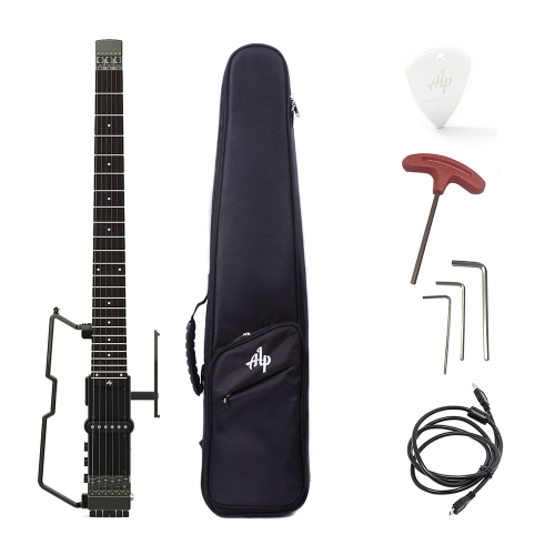 ALP FT-221S Portable Foldable Headless Travel Electric Guitar Built-in Tuner Headphone Amplifier Rechargeable Lithium Battery with Gig Bag